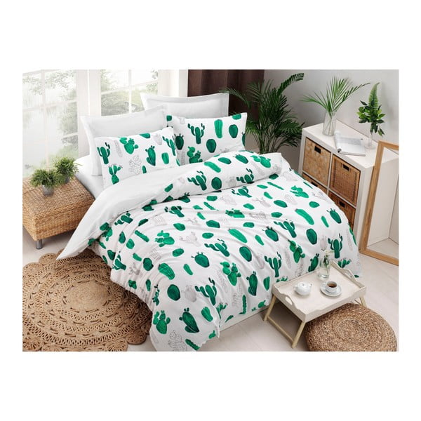 Kaktus Green kétszemélyes pamutkeverék ágyneműhuzat, 200 x 220 cm