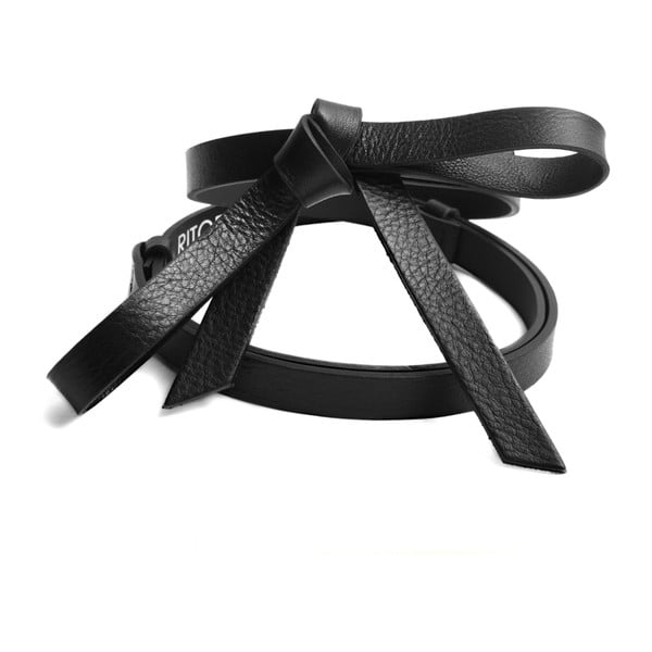 Nastavitelný kožený pásek Ruby černý, 66 až 100 cm