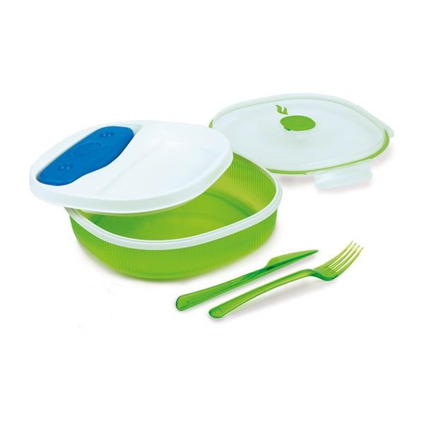 Set cutie pentru prânz și tacâmuri Snips Lunch, verde - alb