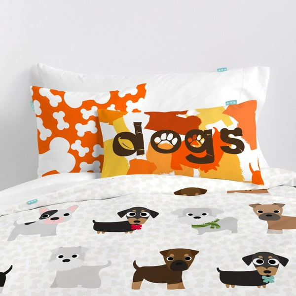 Dětské bavlněné povlečení na peřinu a polštář Mr. Fox Dogs, 140x200cm