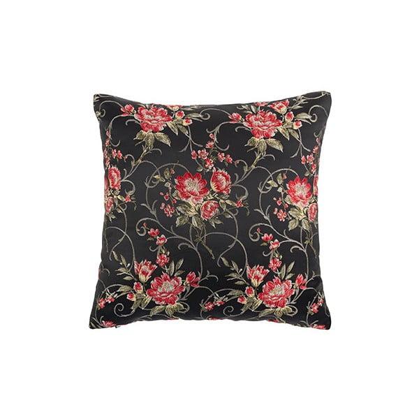 Černý květovaný polštář White Label Jade, 45x45cm