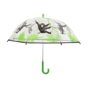 Zeleno-bílý deštník s potiskem opiček Esschert Design Animals