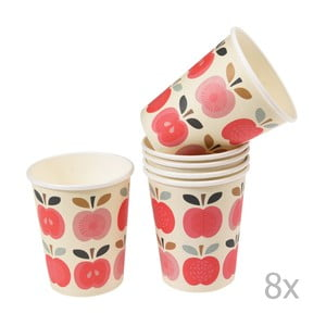 Set 8 pahare din carton Rex London Vintage Apple