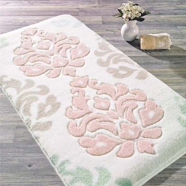 Růžová předložka do koupelny Confetti Bathmats Damask, 80x140cm