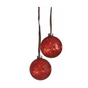 Sada 2 svítících koulí Vesta Duo Red, 10 cm