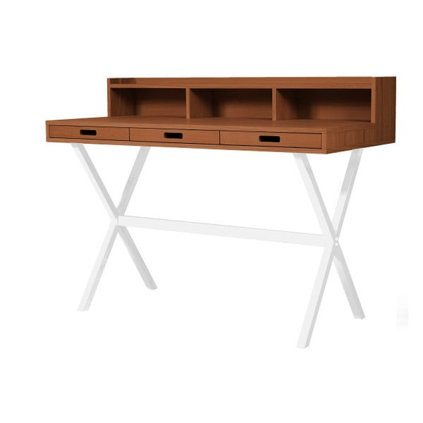 Pracovní stůl v dekoru ořechového dřeva s bílými kovovými nohami HARTÔ Hyppolite, 120x55cm