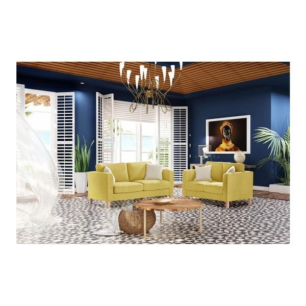 Žlutá trojmístná pohovka se 2 krémovými polštáři Stella Cadente Maison Canoa