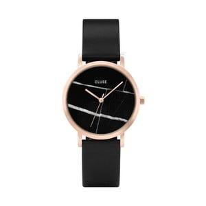 Dámské černé hodinky s koženým řemínkem a mramorovým ciferníkem Cluse La Roche Petite Rose