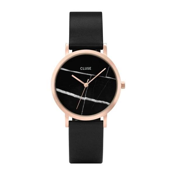 Damski czarny zegarek ze skórzanym paskiem i marmurowym cyferblatem Cluse La Roche Petite Rose