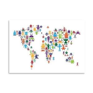 Poster cu harta lumii Americanflat Robot, 60x42cm, multicolor