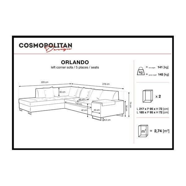 Fialová rohová rozkládací pohovka s nohami ve stříbrné barvě Cosmopolitan Design Orlando, levý roh
