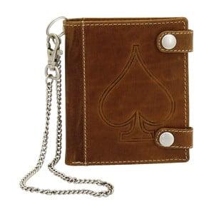 Hnědá kožená peněženka sřetízkem Friedrich Lederwaren Biker Ace Of Spades