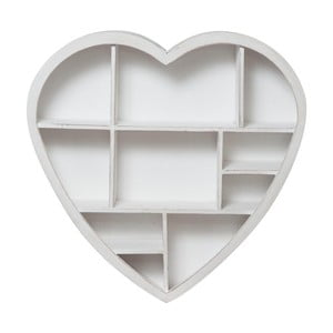 Dřevěná nástěnná bílá knihovna Biscottini Heart,61x60cm