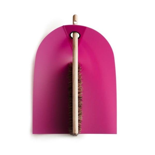 Lopatka s košťátkem s přírodními štětinami Broom, růžová
