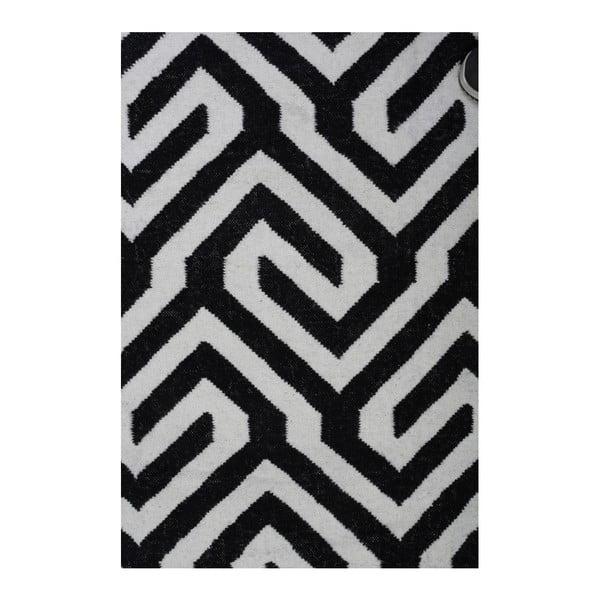 Vlněný koberec Geometry Modern Black & White, 160x230 cm