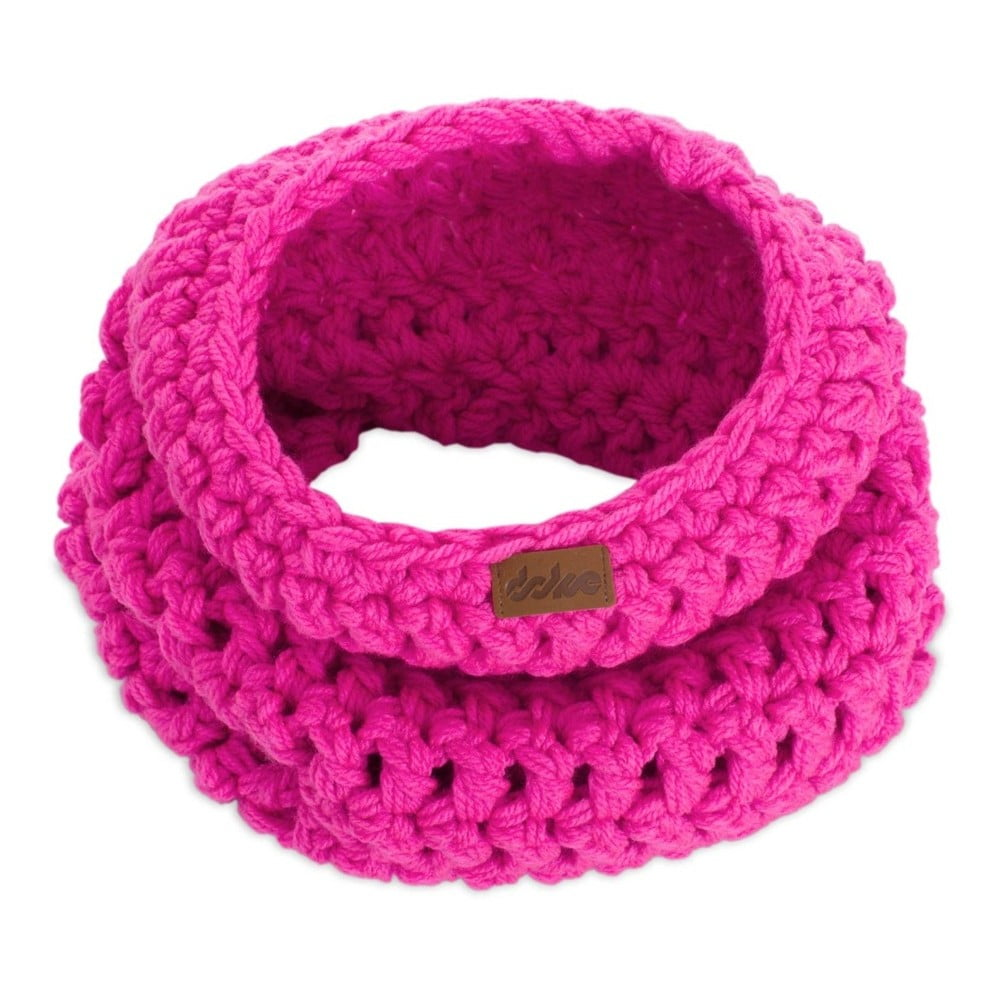 Růžová ručně háčkovaná kruhová šála DOKE Ava  2e878648bf