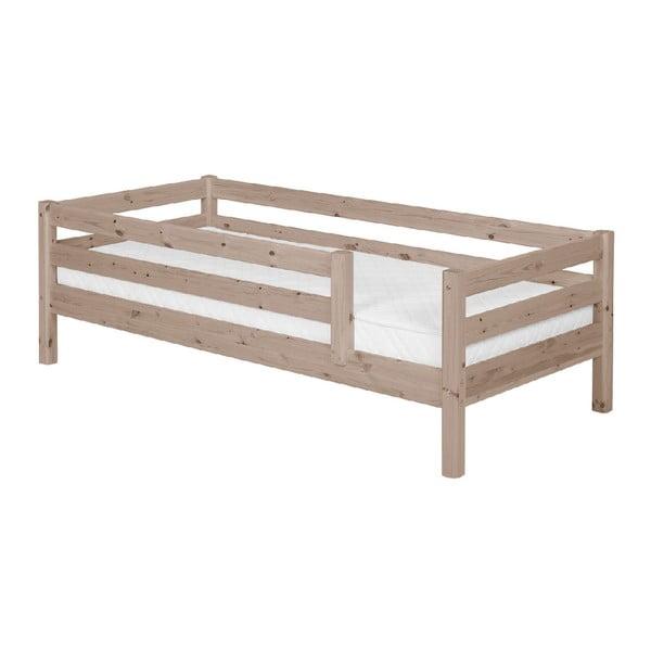 Brązowe łóżko dziecięce z drewna sosnowego z barierkami Flexa Classic, 90x200 cm