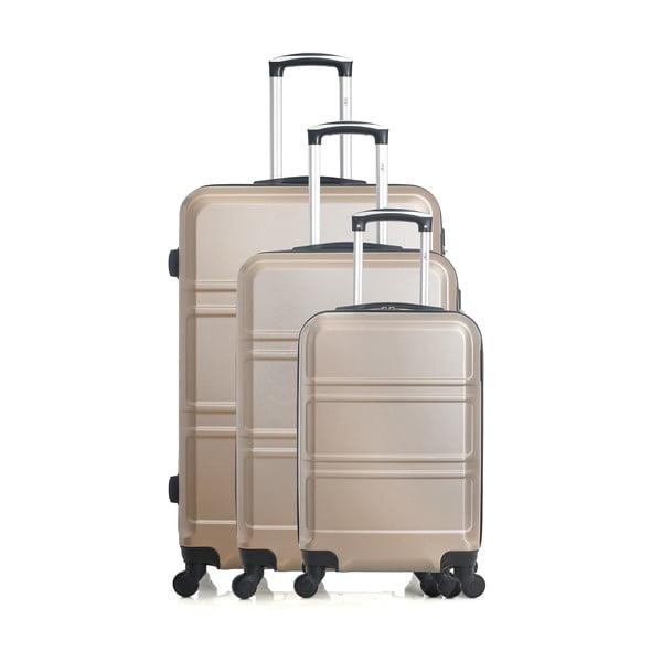 Zestaw 3 kremowobiałych walizek na kółkach Hero Utah