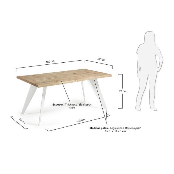 Jídelní stůl s hnědou deskou a bílým podnožím La Forma Nack, 100x180cm