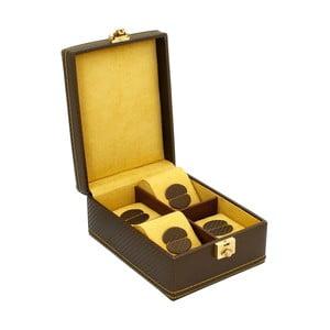 Hnědý box na 4 hodinky se Friedrich Lederwaren Honey