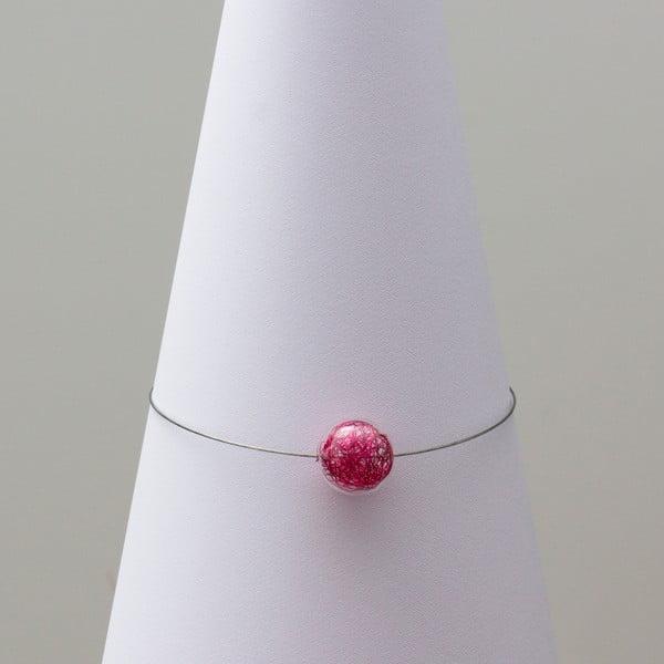 Skleněný náhrdelník ko-ra-le Wired, růžový