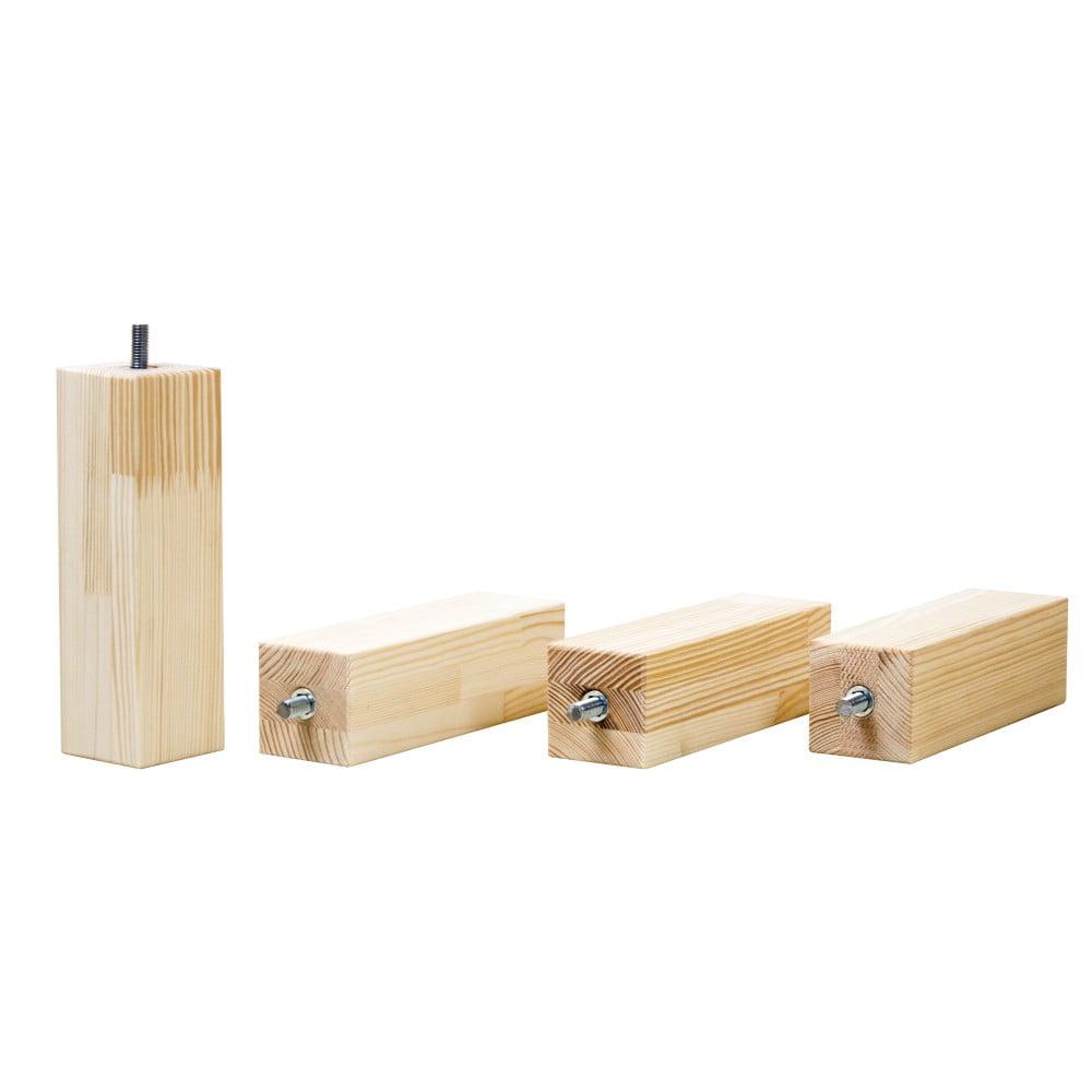 Sada 4 prodloužených nohou z přírodního borovicového dřeva k posteli Benlemi, výška 20 cm