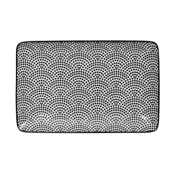 Černo-bílý obdélníkový talíř Tokyo Design Studio Nippon Dot, 21x13,5cm