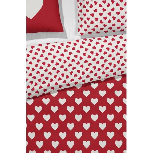 Červené povlečení Cinderella Hearts, 200x200cm