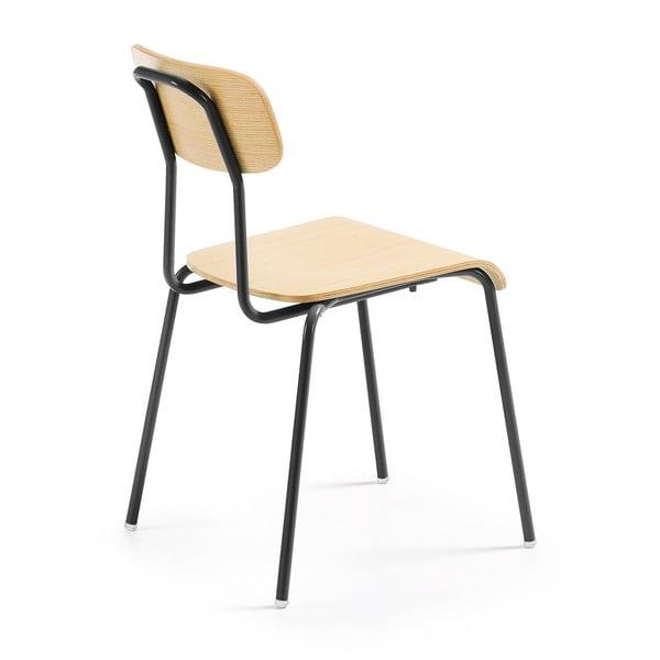 Černá jídelní židle s přírodním sedákem La Forma Klee