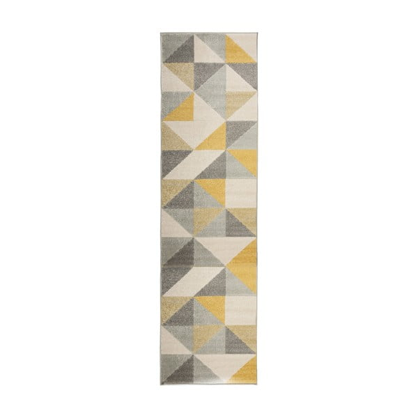 Covor Flair Rugs Urban Triangle, 60 x 220 cm, gri - galben