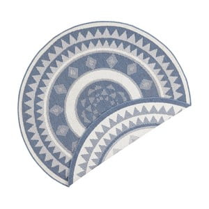 Covor reversibil adecvat interior/exterior Bougari Jamaica, ⌀ 140 cm, albastru-crem