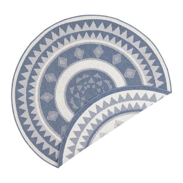 Covor adecvat pentru exterior Bougari Jamaica, ⌀ 140 cm, albastru-crem