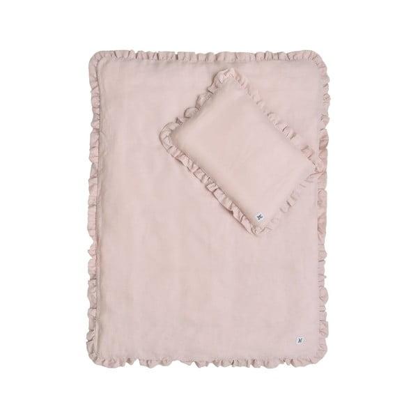 Set růžové dětské lněné přikrývky s polštářem BELLAMY Dusty Pink, 80x100cm