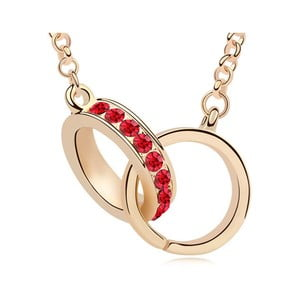 Pozlacený náhrdelník s červenými krystaly Swarovski Elements Crystals Connection