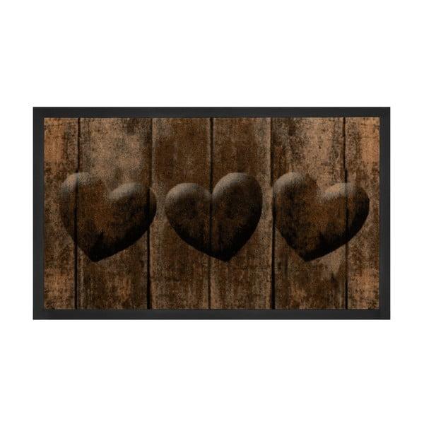 Hnědá rohožka Hanse Home Hearts, 45 x 75 cm