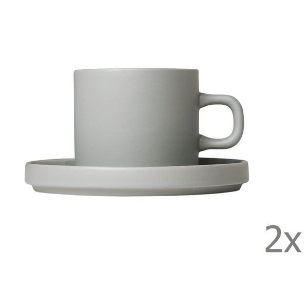 Sada 2 svetlosivých keramických hrnčekov na kávu s tanierikmi Blomus Pilar,200ml
