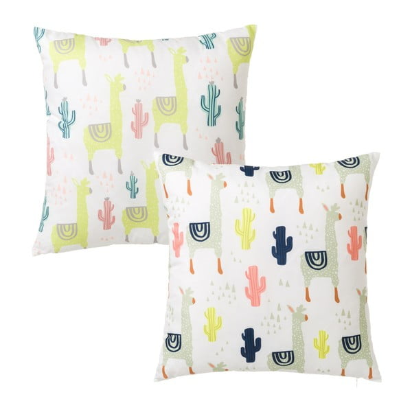 Zestaw 2 kolorowych poduszek z motywem lamy i kaktusa Unimasa, 45x45 cm