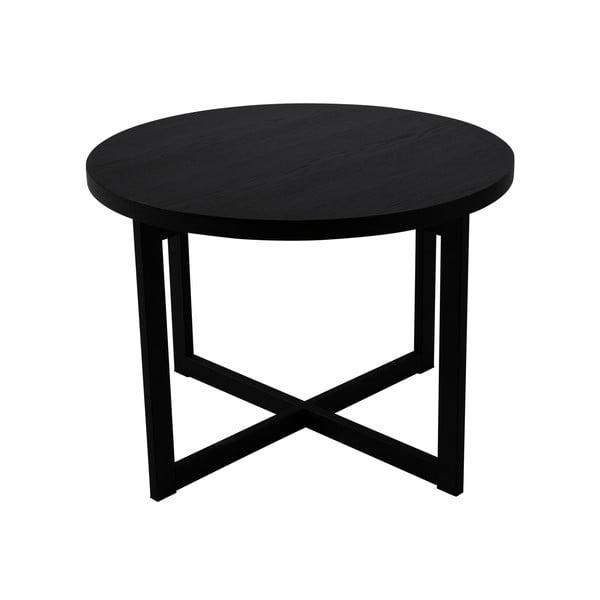 Czarny stolik z drewna dębowego Canett Elliot, ø 70 cm
