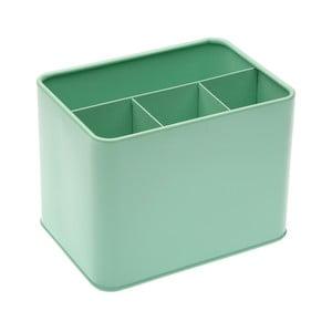 Zelená kovová dóza na příbory Versa Green Cutlery