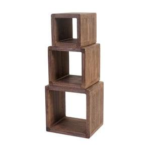 Sada 3 dřevěných poliček z tmavého dřeva Mendler Shabby Trient