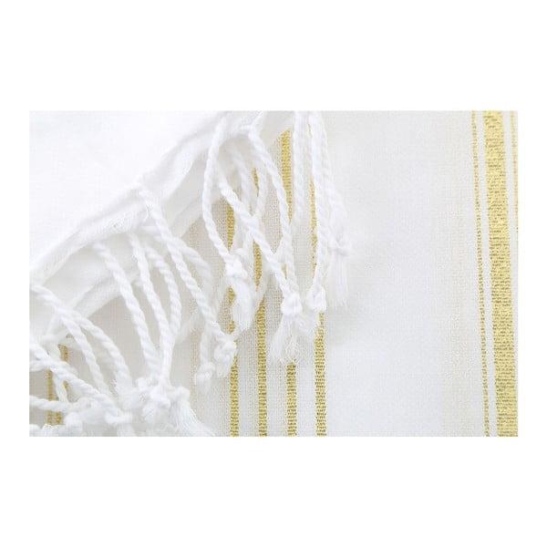 Bílozlatá osuška Hammam Sultan, 100x180 cm