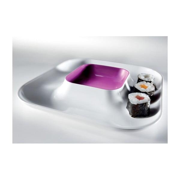 Fialový talíř na jednohubky Entity, 21x21 cm