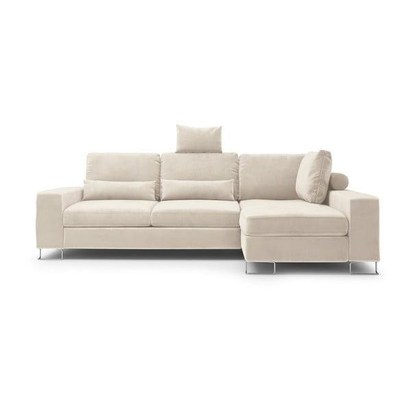 Béžová rozkladacia rohová pohovka so zamatovým poťahom Windsor & Co Sofas Diane, pravý roh