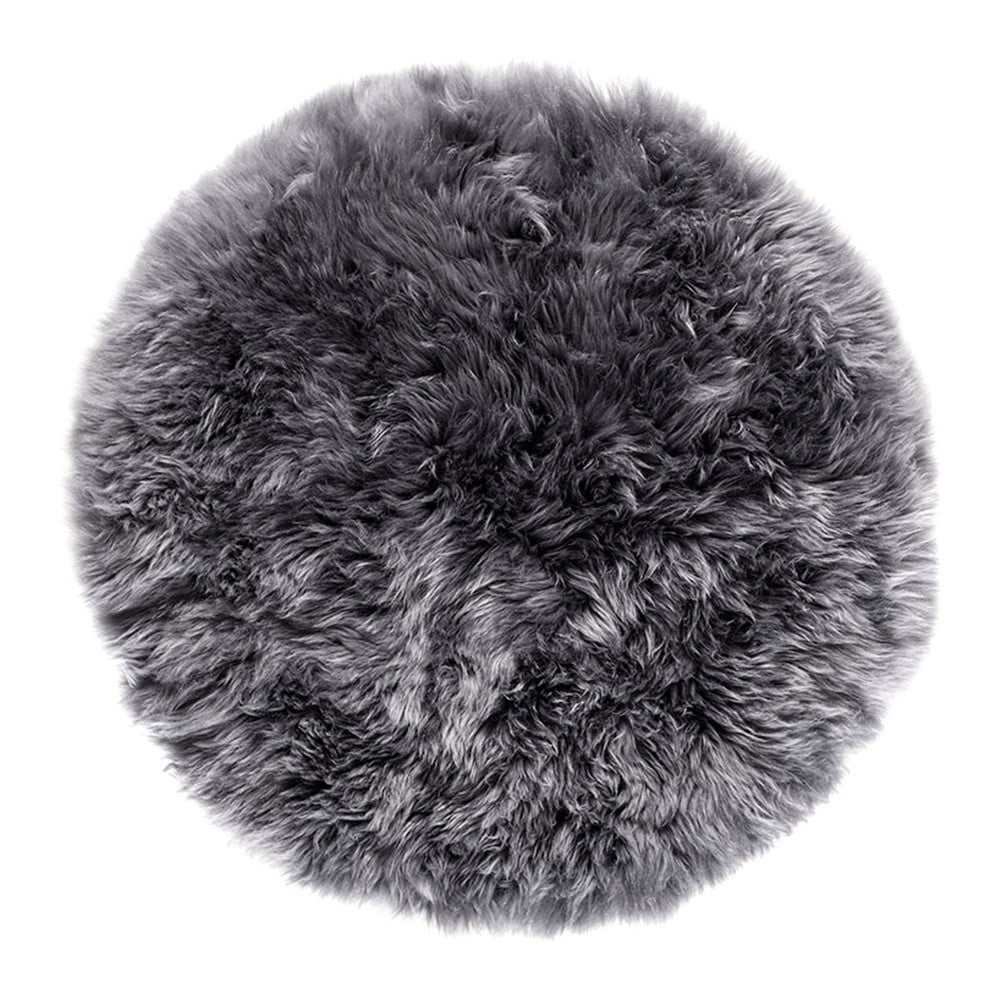 Šedý kulatý koberec z ovčí vlny Royal Dream Zealand, Ø 70 cm