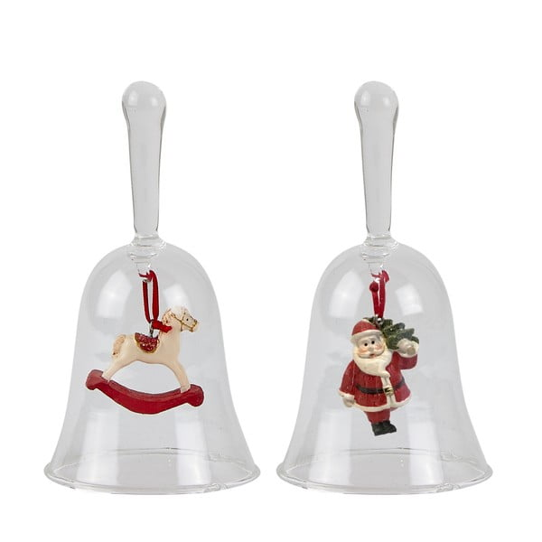 Sada 2 vianočných sklenených zvončekov KJ Collection, výška 13 cm