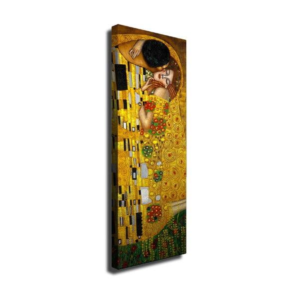 Reprodukcja obrazu na płótnie Gustav Klimt The Kiss, 30x80 cm