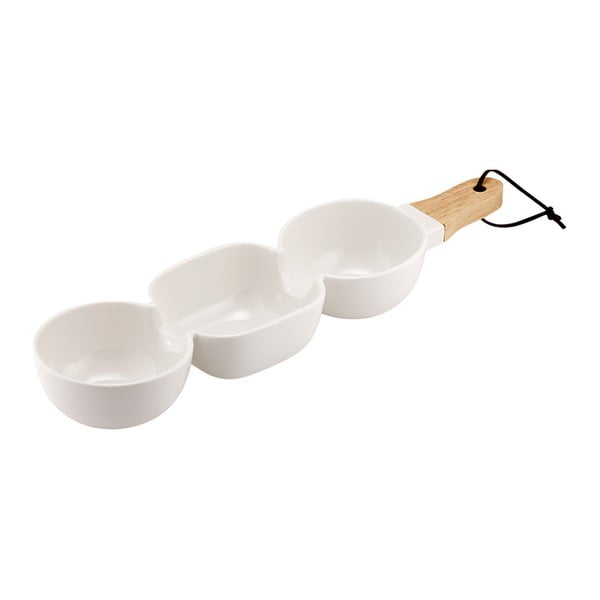 Bol triplu pentru servit, din porțelan, Ladelle Classic, alb