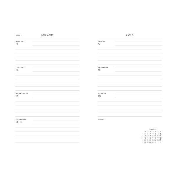 Diář na rok 2014 - Black Moroccan 21x13 cm, horizontální výpis dnů