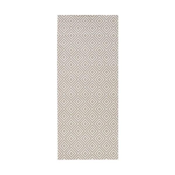 Sivý behúň vhodný aj do exteriéru Bougari Karo, 80×200 cm