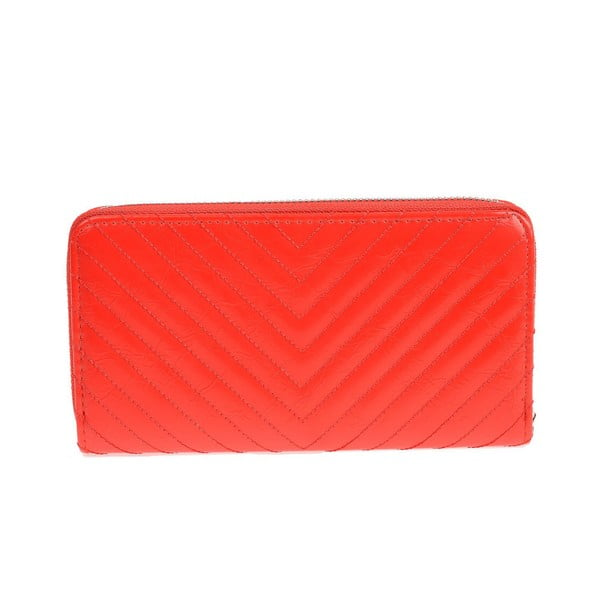 Červená koženková peněženka Carla Ferreri